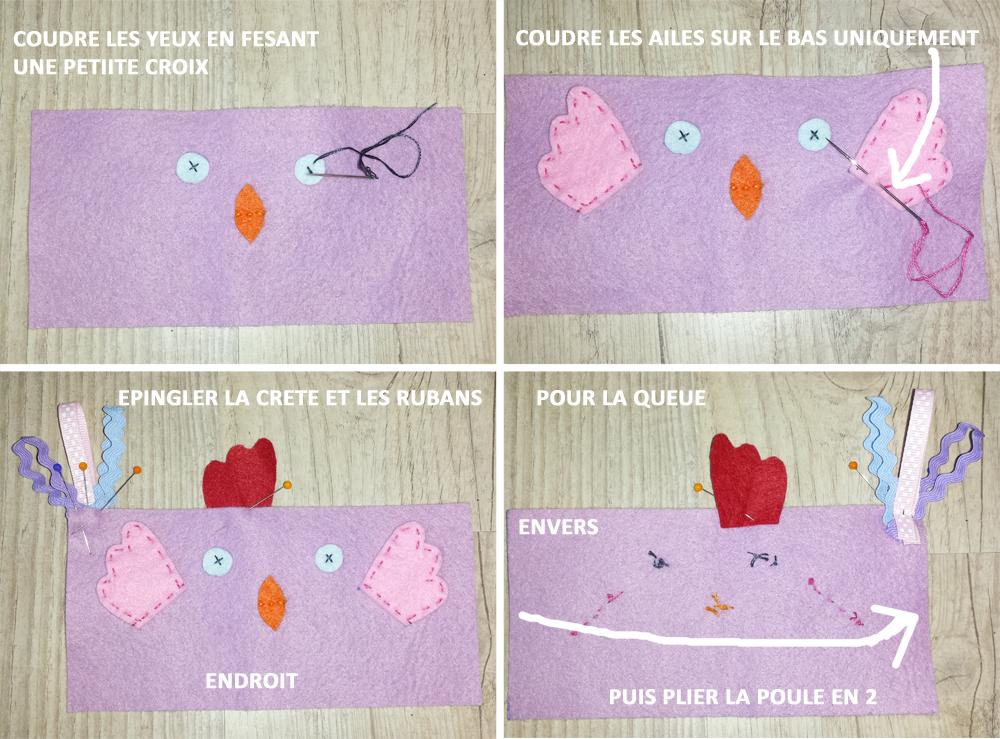 poule feutrine etape 2 margote picote